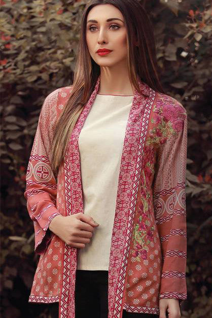 Sana & Samia Embroidered Linen Plachi Collection by Lala – Cherry - 6B - YourLibaas  - 1