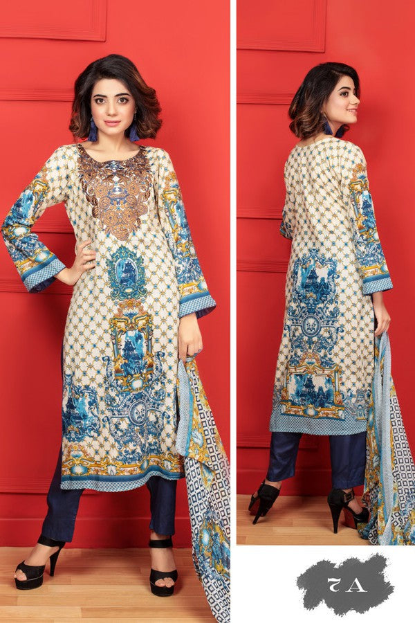 Needle Creation Elegant Embroidered Lawn Collection '17 – 7A