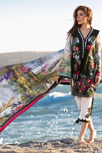 Crimson Luxury Lawn by Saira Shakira – Tropical Landscape – Onyx