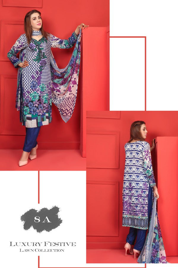 Needle Creation Elegant Embroidered Lawn Collection '17 – 8A