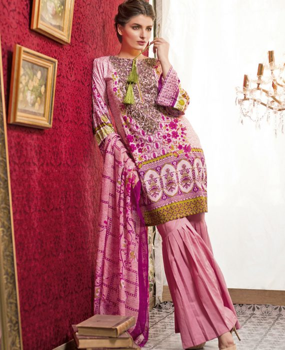 Feminine Embroidered Lawn Collection 2017 – 8A