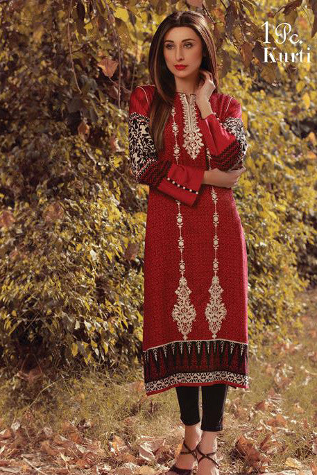 Sana & Samia Embroidered Linen Plachi Collection by Lala – Blood Red - 8B - YourLibaas  - 1