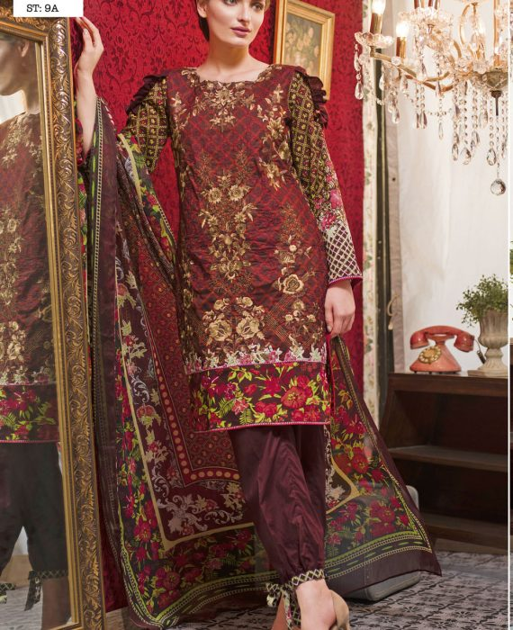 Feminine Embroidered Lawn Collection 2017 – 9A