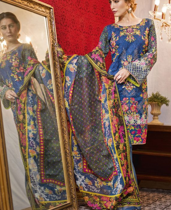 Feminine Embroidered Lawn Collection 2017 – 9B