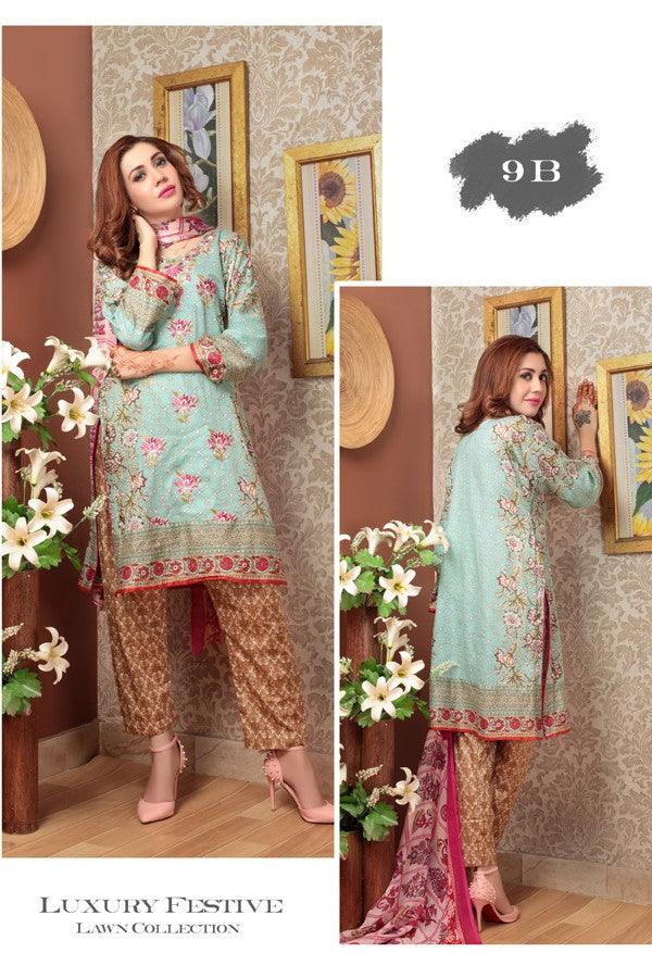 Needle Creation Elegant Embroidered Lawn Collection '17 – 9B