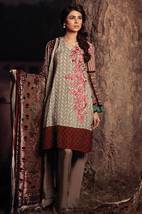Sana & Samia Embroidered Linen Plachi Collection by Lala – White Sand - 9B - YourLibaas  - 1