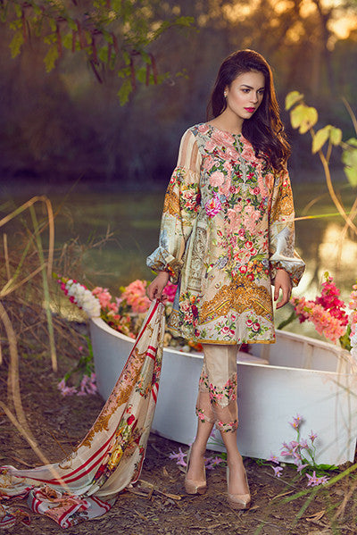 Asifa & Nabeel Lawn Collection 2017 – Floral Cloudlets – 13B