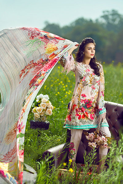Asifa & Nabeel Lawn Collection 2017 – Roaring Waves – 5L