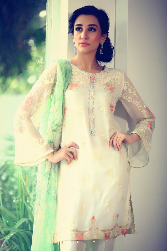 Rungrez Fleur d' Amour Embroidered Chiffon Collection - Bow Bells - YourLibaas  - 1