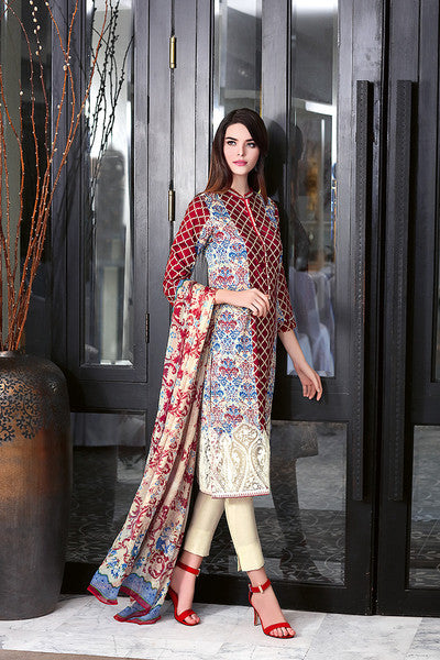Gul Ahmed Summer 2016 Collection – Red La Chiffon C-370