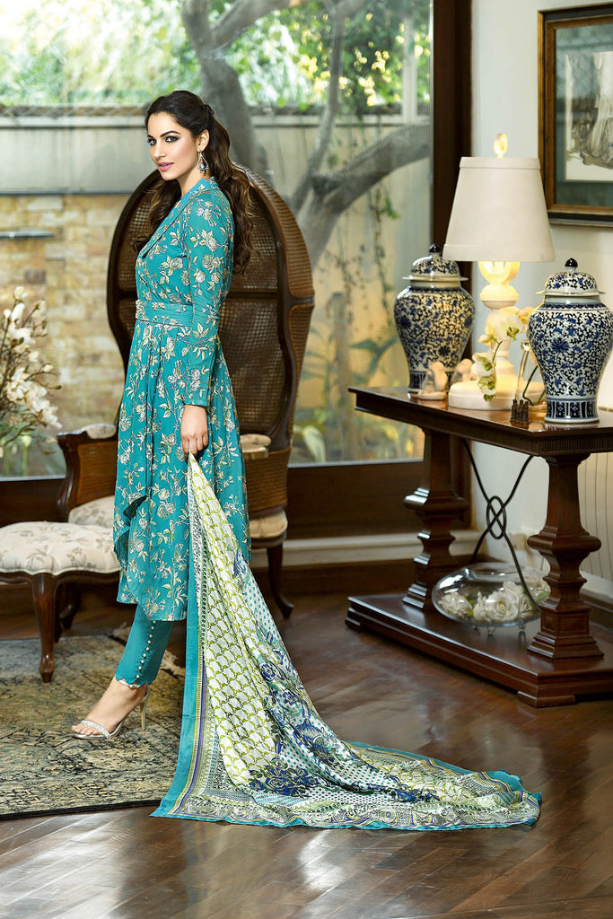 Gul Ahmed Summer 2017 - Sea Green 3 PC Embroidered Trencia Satin Silk Dress SS-128
