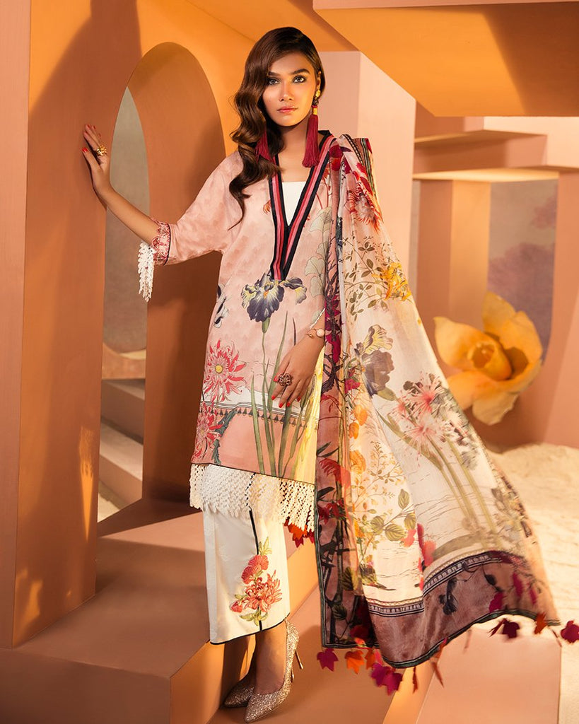 Zaha by Khadijah Shah – 3pc Lawn Collection – Cheri (ZL-19A)