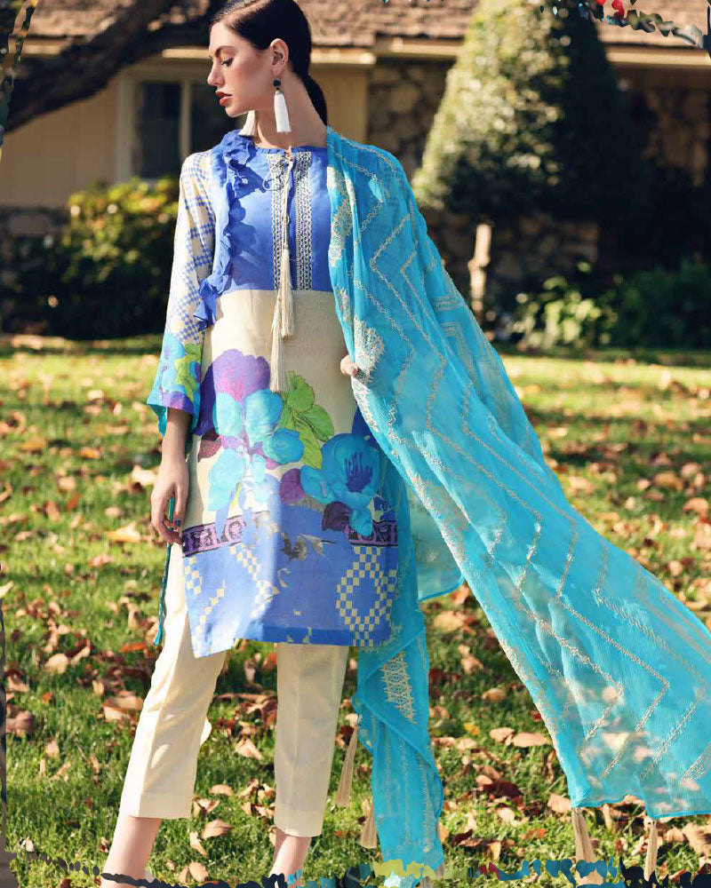 Charizma Spring/Summer Karandi Lawn Collection Vol-1 – Blue CK-19-10