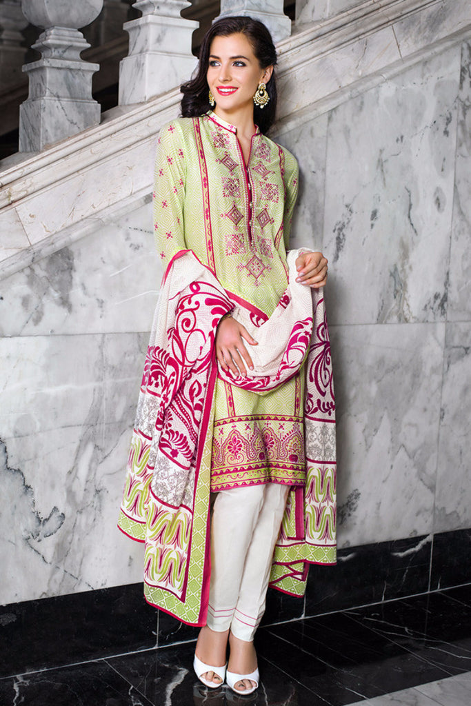 Gul Ahmed Green Embroidered Lawn CL-122 B - YourLibaas  - 1
