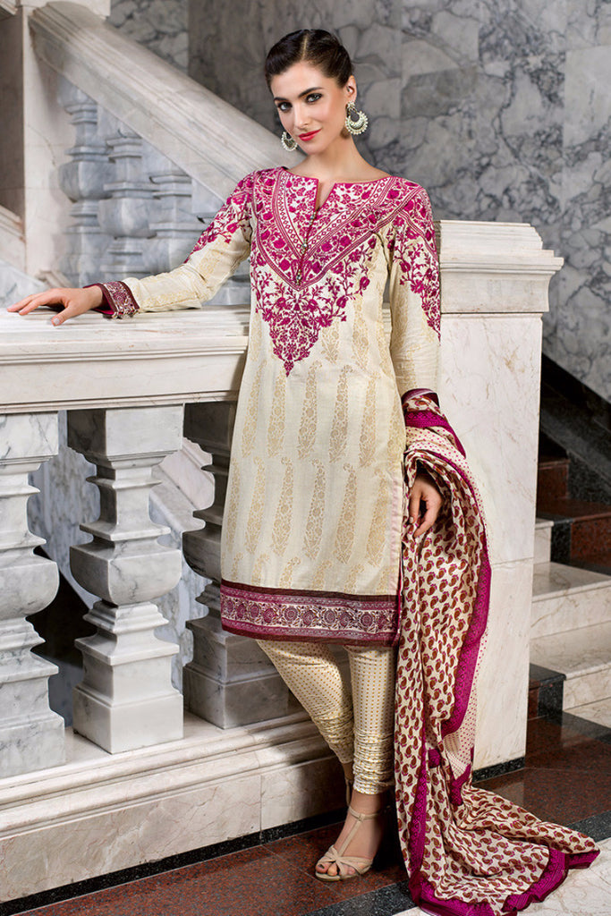 Gul Ahmed Off White Embroidered Lawn CL-127 - YourLibaas  - 1