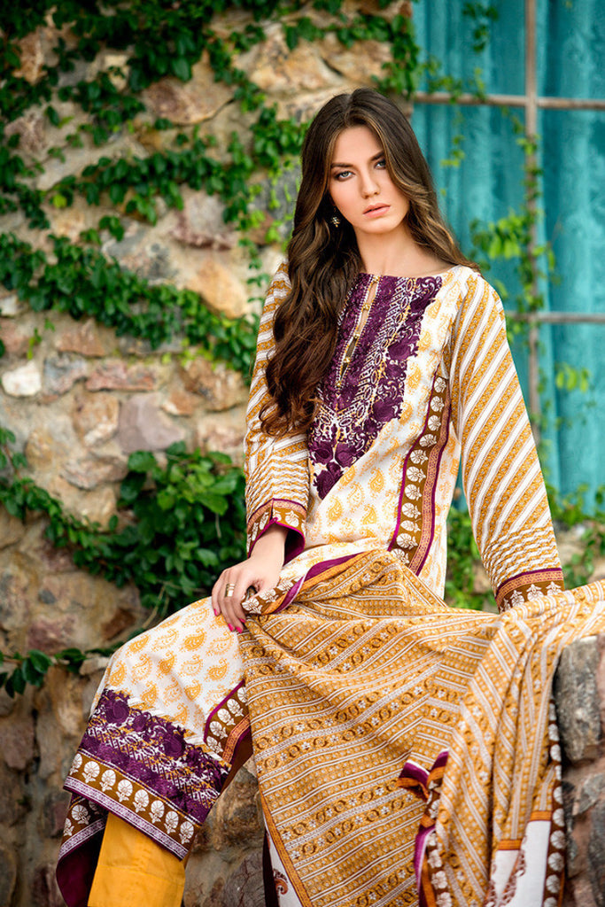 Gul Ahmed Cream Embroidered Lawn CL-138 B - YourLibaas  - 1