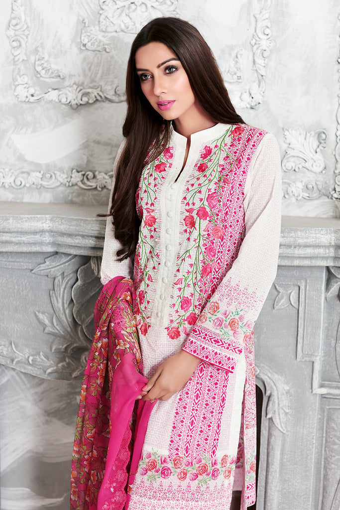 Gul Ahmed Pink Chantilly De Lace CT-149 - YourLibaas  - 1