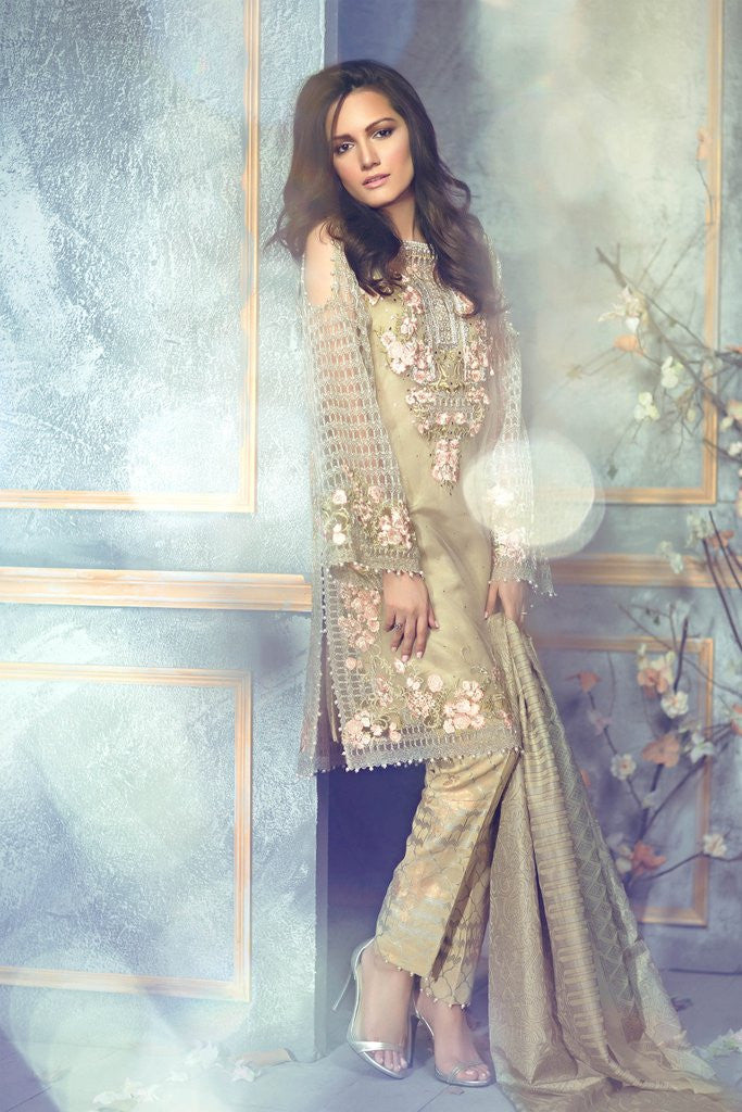 Rungrez Czarina - Surreal Luster Chiffon & Silk Collection – Caspian Floret - YourLibaas  - 1
