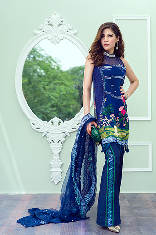 Crimson Luxe Luxury Chiffon by Saira Shakira '17 – Chinoiserie – Electric Blue