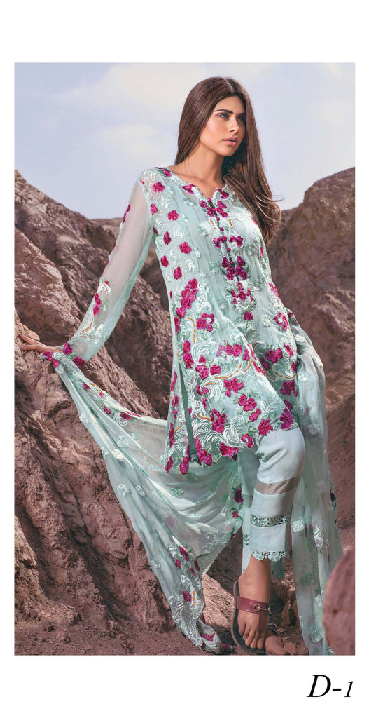 Mina Hasan Embroidered Fabrics Vol 3 – D-1 - YourLibaas  - 1