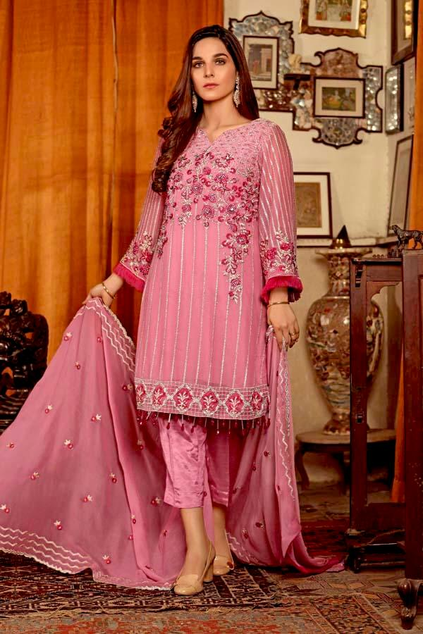 Angan by Zebaish – Luxury Embroidered Chiffon Formal Collection – Lizzie Pink