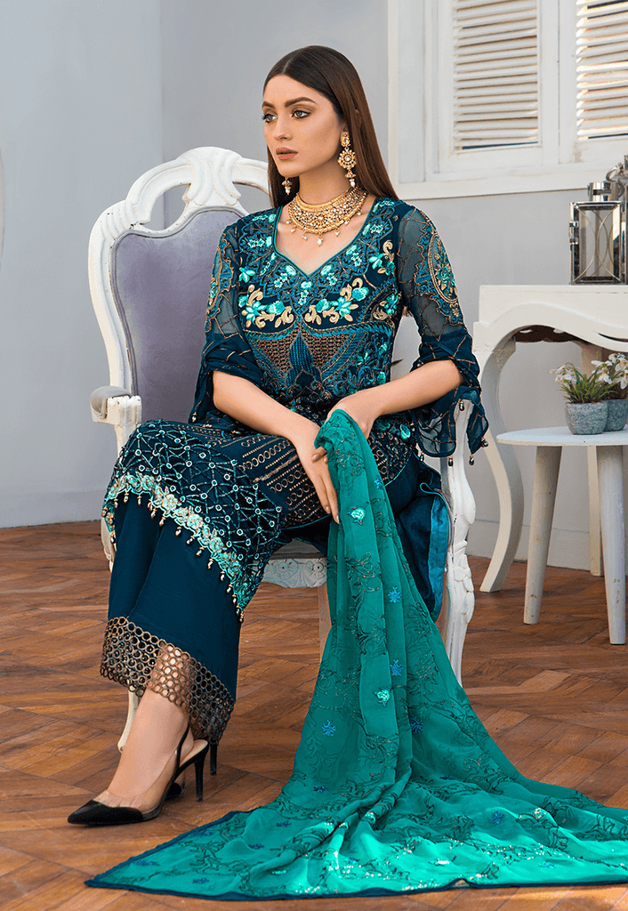 Maryam's Gold Luxury Embroidered Chiffon Collection Vol 6 – MG-71 Aster