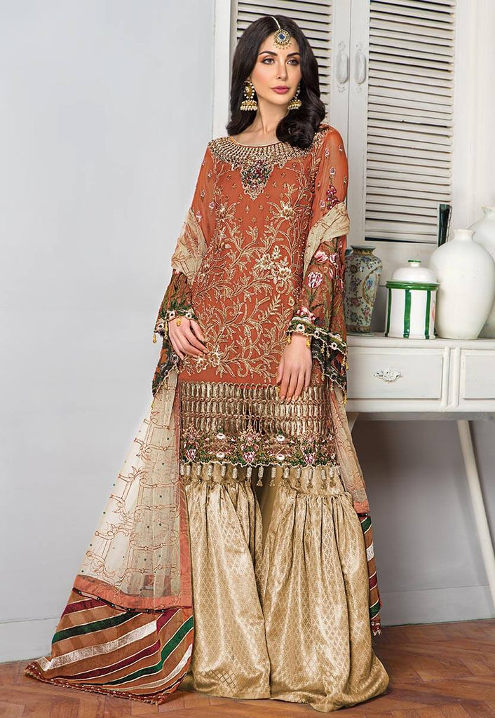Maryam's Gold Luxury Embroidered Chiffon Collection Vol 6 – MG-69 Begonia
