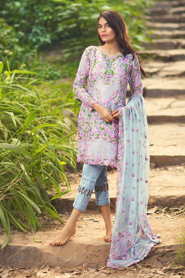 Mina Hasan Embroidered Chiffon Collection - 12 - YourLibaas  - 1