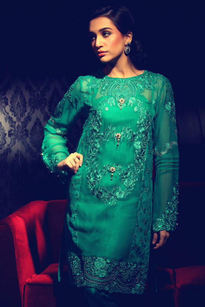 Rungrez Fleur d' Amour Embroidered Chiffon Collection - Emerald Woo - YourLibaas  - 1