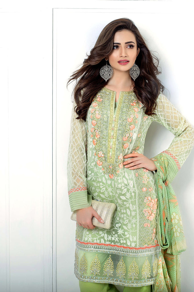 Gul Ahmed Luxury Festive Eid Collection - Light Green 3 Pc Embroidered Chiffon FE-33