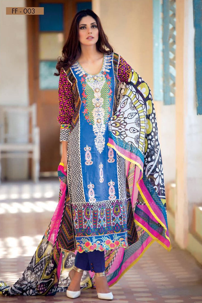 Falak Blossom Embroidered Lawn Collection '16 – FF03 - YourLibaas  - 1