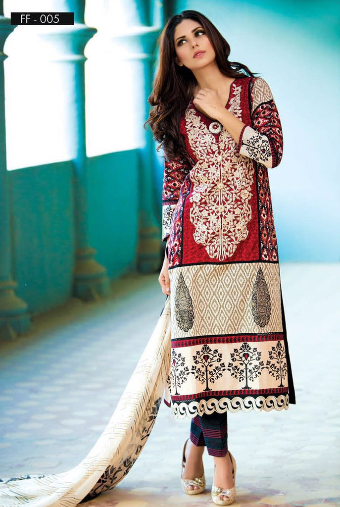 Falak Blossom Embroidered Lawn Collection '16 – FF05 - YourLibaas  - 1