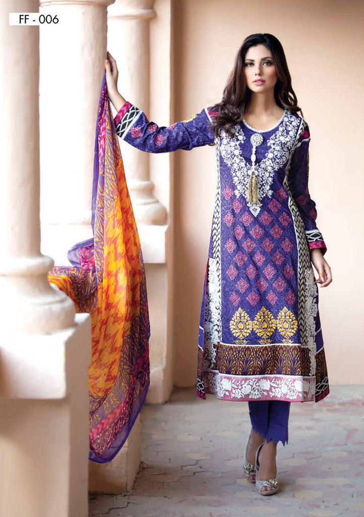 Falak Blossom Embroidered Lawn Collection '16 – FF06 - YourLibaas  - 1