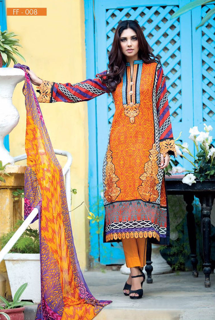 Falak Blossom Embroidered Lawn Collection '16 – FF08 - YourLibaas  - 1