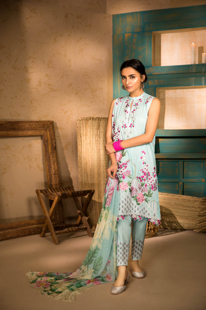 Sapphire Naqsh Dar Lawn Eid Collection Vol-V – Floral Fantasy A