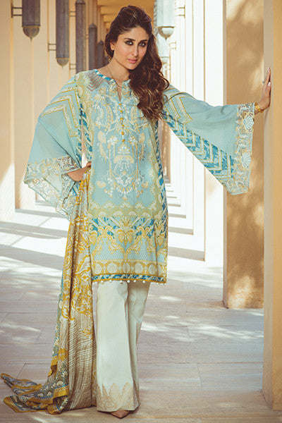 Faraz Manan Crescent Lawn Collection 2016 – FM03 Gold Sky - YourLibaas  - 1
