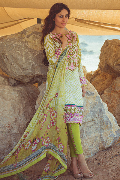 Faraz Manan Crescent Lawn Collection 2016 – FM11 Olive Tree - YourLibaas  - 1