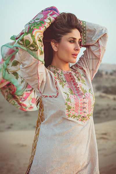 Faraz Manan Crescent Lawn Collection 2016 – FM13 Rose Gold - YourLibaas  - 1