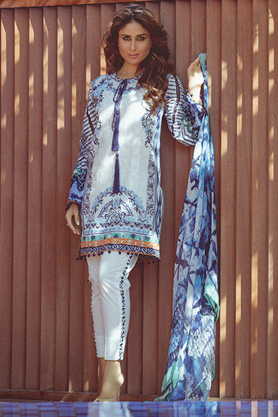 Faraz Manan Crescent Lawn Collection 2016 – FM14 Pure Allure - YourLibaas  - 1
