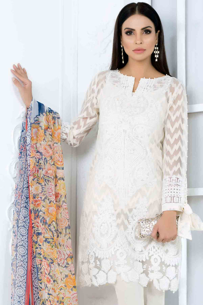 Gul Ahmed Luxury Festive Eid Collection - White 3 Pc Embroidered Organza Jacquard FE-06