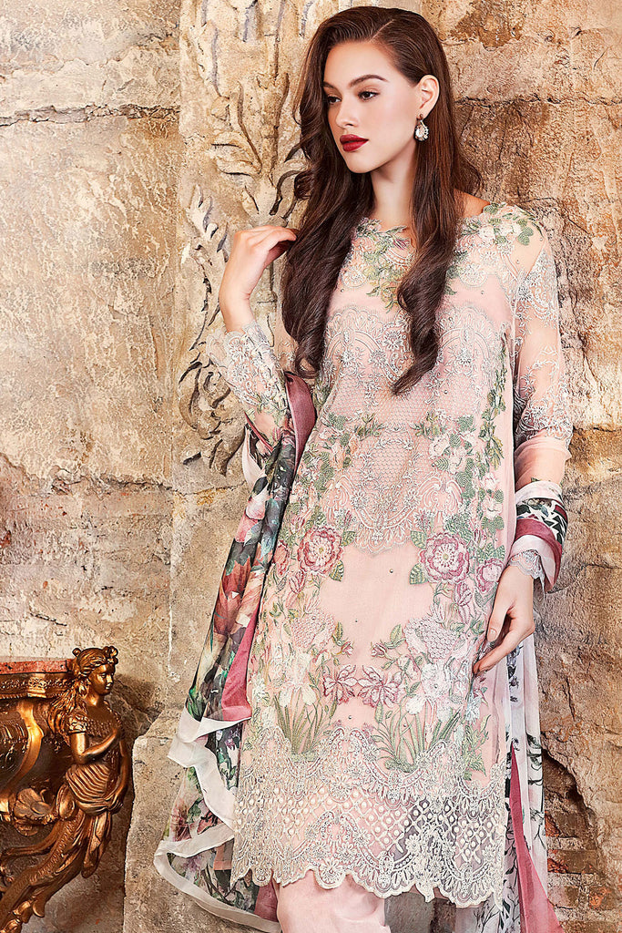 Gul Ahmed Luxury Festive Eid Collection - Tea Pink 3 Pc Embroidered Organza FE-53