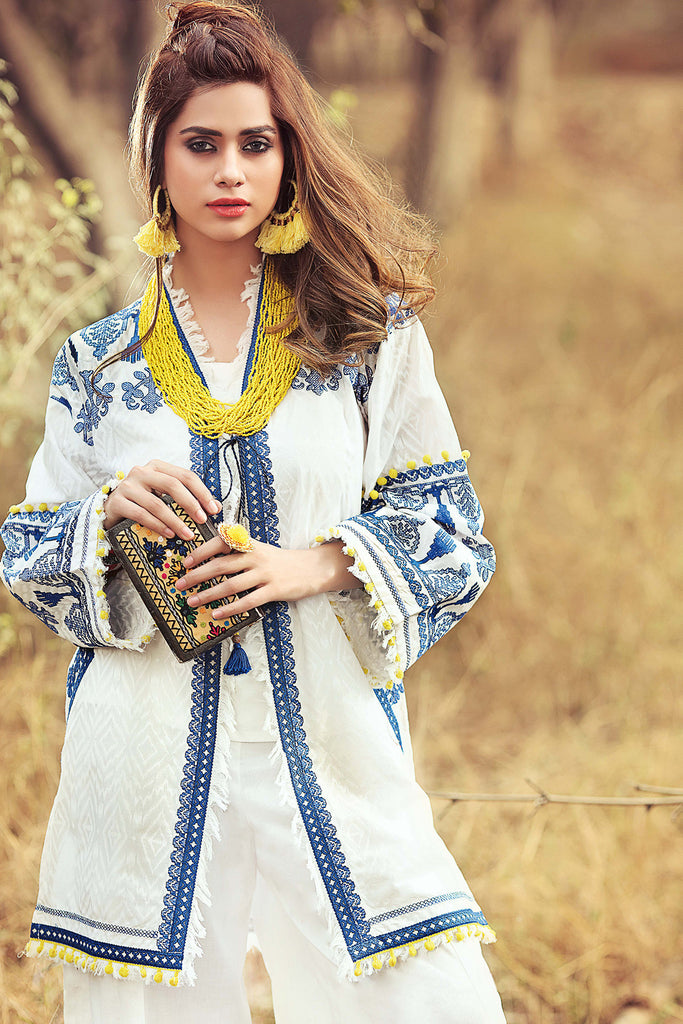 Gul Ahmed Gypsy Folk Lawn Collection - White 1 PC Embroidered Lawn Single GS-01