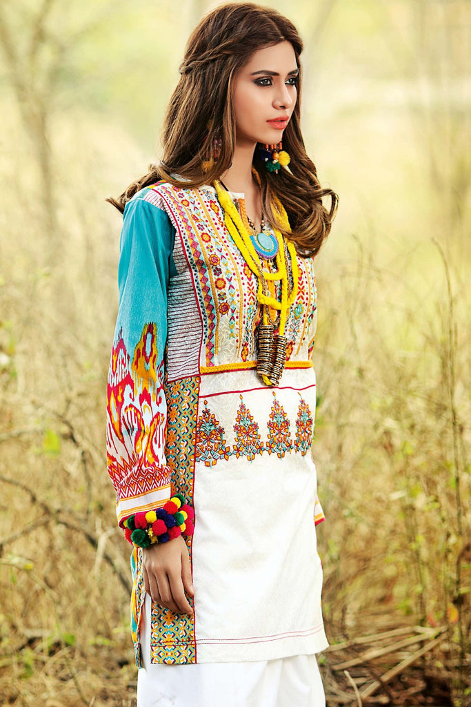 Gul Ahmed Gypsy Folk Lawn Collection - White 1 PC Embroidered Lawn Single GS-04