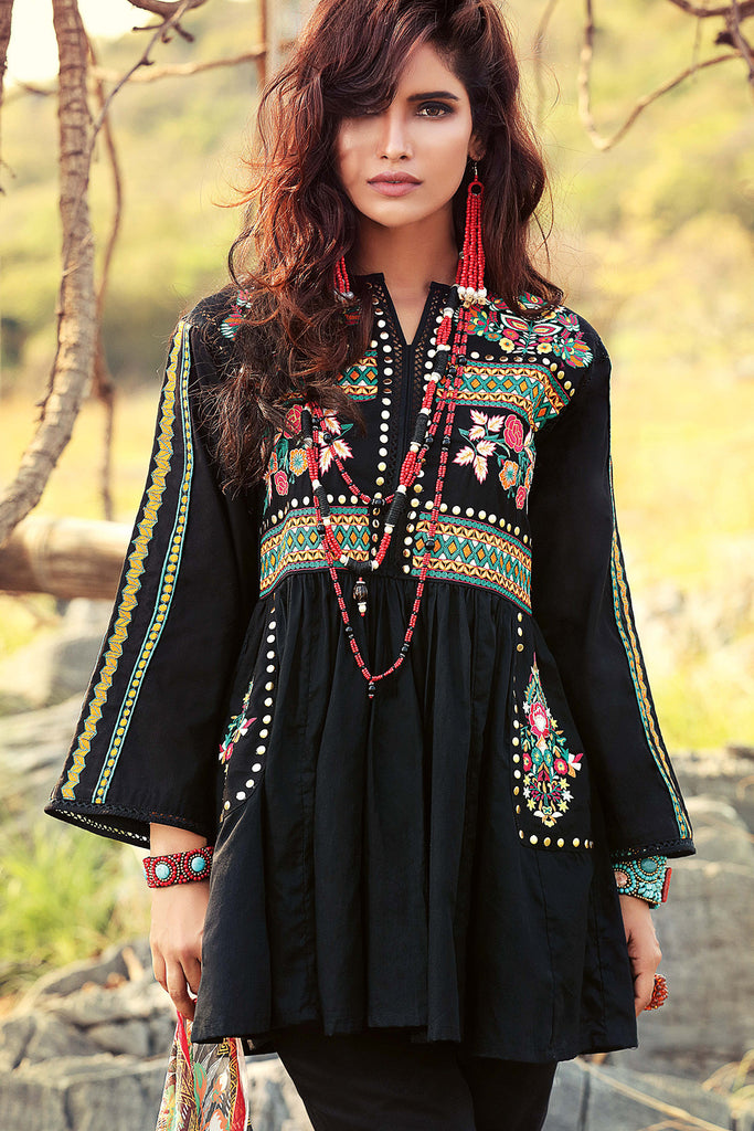 Gul Ahmed Gypsy Folk Lawn Collection - Black 3 PC Bamber Embroidered GL-02