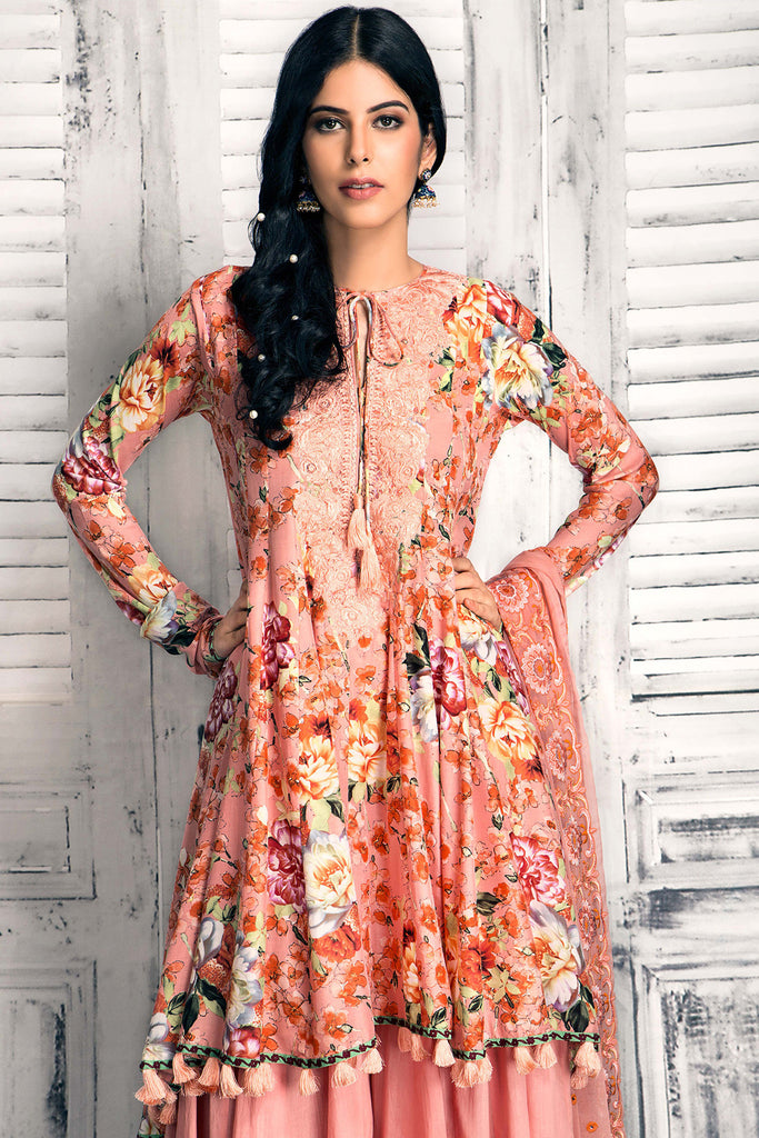 Gul Ahmed Luxury Festive Eid Collection - Tea Pink 3 Pc Premium Embroidered Chiffon FE-46