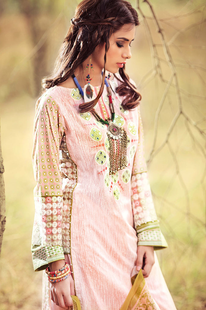 Gul Ahmed Gypsy Folk Lawn Collection - Baby Pink 3 PC Bamber Embroidered GL-07