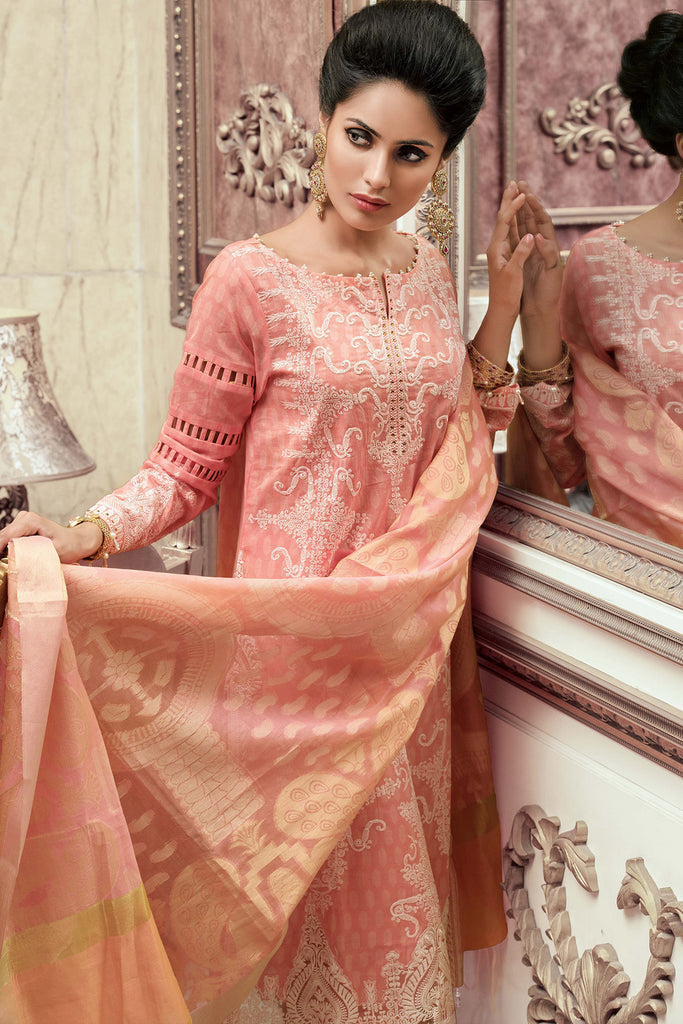 Gul Ahmed Luxury Festive Eid Collection - Pink 3 Pc Hand Woven Banarasi FE-04