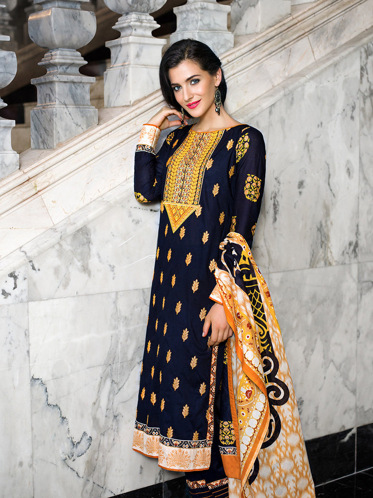 Gul Ahmed Navy Embroidered Lawn CL-123 B - YourLibaas  - 1