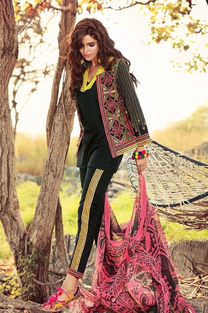Gul Ahmed Gypsy Folk Lawn Collection - Black 2 Pc Embroidered Blended Chiffon GT-06