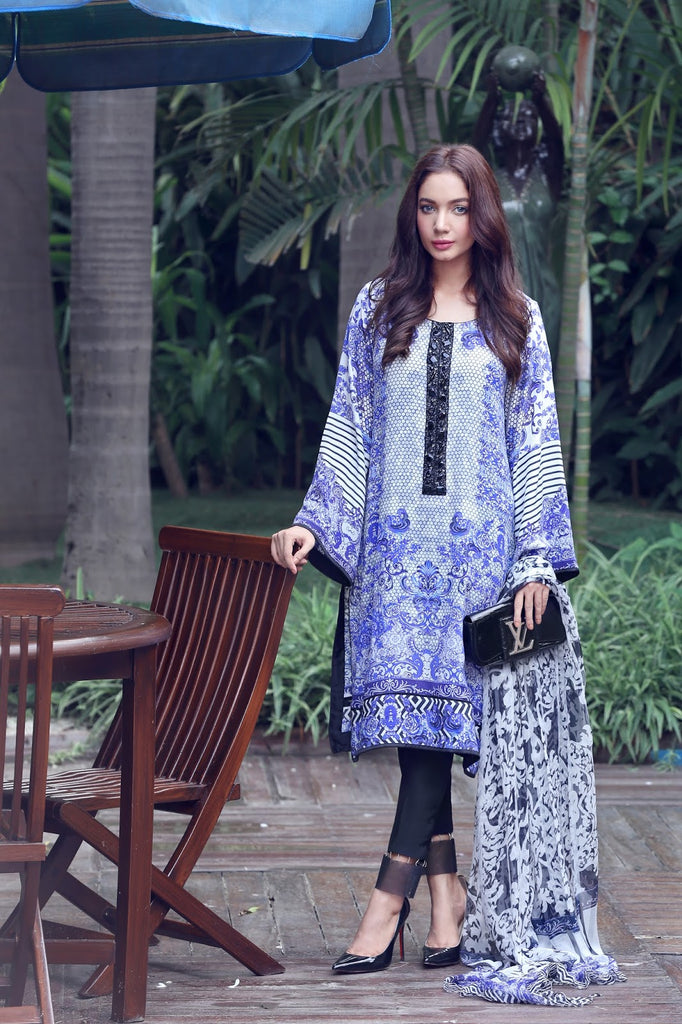 Noor by Saadia Asad Silk Collection - Indigo Dreams - 11